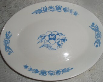 Blue and White Platter, China Serving Platter Made in Brazil, Vintage Blue and white collectible platter