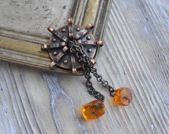 Vintage Baltic folk copper-natural cognac Amber Pin, Brooch.