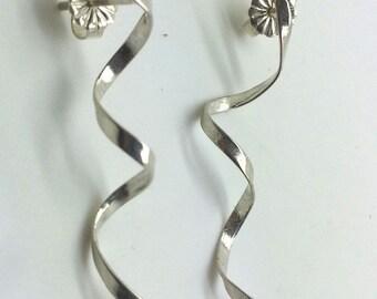 Valentines Day Gift, 925 Sterling Silver Earrings, Spiral Silver Earrings, Women Jewelry