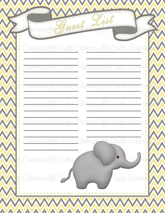 Baby shower guest list printable baby shower party for Baby shower decoration checklist