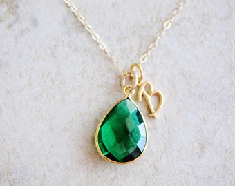 Emerald Necklace, Initial Necklace, May Birthstone Necklace, Monogram Necklace, Personalized Jewelry, Initial Jewelry, Emerald Jewelry