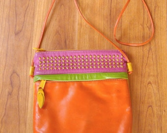 80s bright multi colour leather studded shoulder bag by Park Ave International