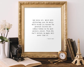 Roald Dahl Quote Printable, Watch with glittering eyes, 8x10 Instant Download, Inspirational Art, Wall Art, Home Decor, Roald Dahl Print