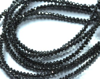 Genuine Black Diamonds Rondelles Beads. 2 mm - 3 mm Size.15 inch Strand. Sparkling Facets.