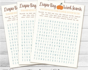 Baby Shower Game, Diaper Bag Word Search