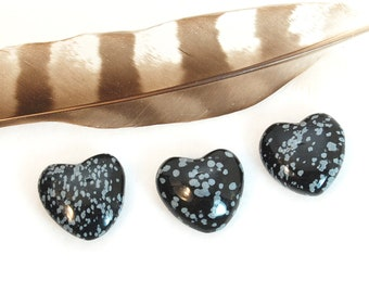 SNOWFLAKE OBSIDIAN Heart Stones | Black White Crystal Heart | Wedding Favor, Recovery Gift, Remembrance Gift | Chakra Energy Healing Stones
