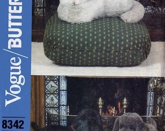 ON SALE Vintage 80s Life Size Stuffed Dog & Cat Sewing Pattern Vogue / Butterick 8342 Standing Puppy Dog, Sitting Kitty Cat UNCUT
