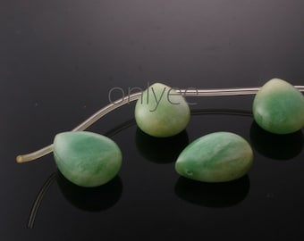 4pcs-16mmX12mm Candy jade soomth Puffy teardrops in multicolor 2Clors-Green( L125-A)