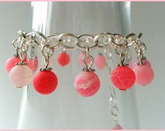 Pink cracked agate gemstones silver bracelet