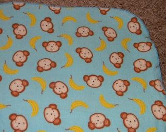 Teal Monkey and Banana XL Receiving Blanket