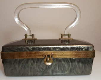 FREE  SHIPPING  Vintage Lucite Box Handbag
