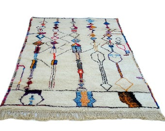 10'X7' ft / Handmade Moroccan rug Beni Ourain 100 Wool / Azilal Rug / Boucherouite Rug / Beni Ouarain / Moroccan Kilim