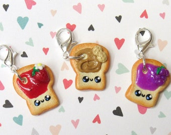 Peanut Butter Jelly Charms, Stitch Markers, Food Charms, Progress Keeper, Planner Charm, PBJ, Best Friends, Polymer Clay Charm, Knitter Gift