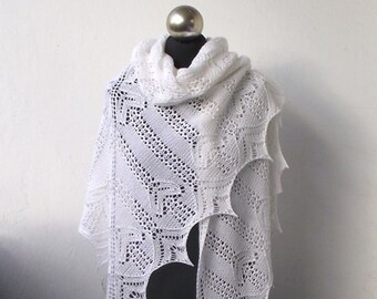 Wedding shawl, White hand knitted shawl , bridal cover up,  white wedding shawl, merino and cashmere white shawl, bridal shawl