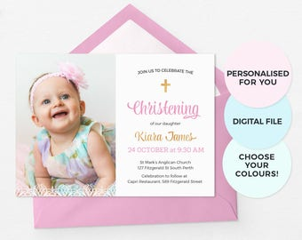 Floral Baptism Invitations Girl Baptism Invites Baby