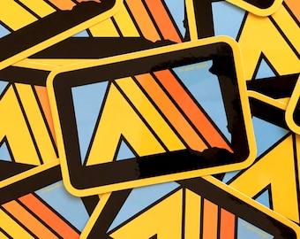 Retro Camp SoDak Rectangle Sticker - Black South Dakota Camping Decal - Tent South Dakota Sticker by Oh Geez! Design - Black Hills Sticker
