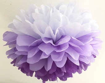 PURPLE OMBRE tissue paper pompom first 30th girl birthday party decoration baby bridal shower bachelorette mcstuffins bat mitzvah graduation