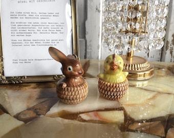 Goebel Easter Salt and pepper Shaker bunny chick/Easter Salt and pepper bunny chick by Goebel