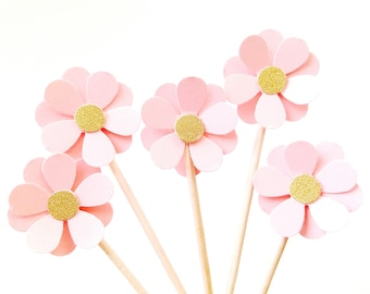 Set of 24Pcs - Blush with Gold Glitter Flower Party Picks, Cupcake Toppers, Toothpicks, Food Picks