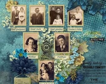 Memory Keeper - Family Tree, Genealogy, Ancestry Digital Scrapbook Kit , Family History