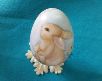 Hand Painted Porcelain Easter Egg with Bunny