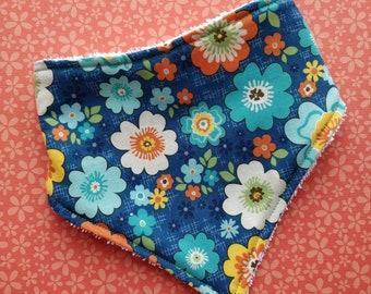 Cotton or bamboo  bandana dribble bib (choose backing fabric) -  flower power