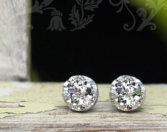 8mm Bright Silver Faux Druzy Studs, Faux Druzy Stainless Steel Post Glitter Earrings