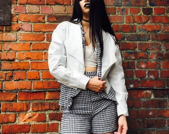 Vintage White Chia Crop Jacket