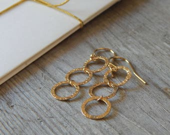 Three circle dangle earrings Gold earrings Dainty gold earrings Long three circles dangle earrings Statement dainty earrings