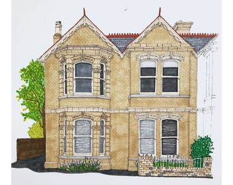 Custom house portrait. LARGE HOUSE. Pen and ink.