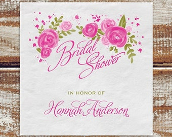 Bridal Shower Personalized Napkins Roses Floral, Personalized Bridal Shower Napkins, Cocktail Napkins For Bridal Shower, Paper Napkins