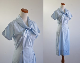 Vintage 50s Dress, 1950s Dress, Summer Cotton Dress, Sky Blue Dress, Ascot Tie Dress, Short Sleeve Dress, Small Medium Bust 36 Waist 26