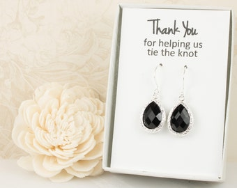 Black Silver Teardrop Earrings, Silver Black Earrings, Bridesmaid Gift, Wedding Jewelry, Bridesmaid Earrings, Black Bridal Accessories