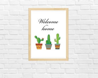 Welcome Home Quote with Colored Cactus and Succulents Art, Printable Cactus Decor, Cactus and Quote art, Succulents Art, Cactus Gift Decor