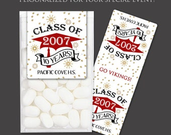 Reunion Favor Stickers for Tic Tac® Boxes - Mint Candy Favor Stickers for Reunion or Graduation - Tic Tac® Wrappers - High School Reuion