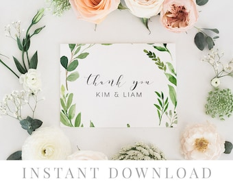 Printable Thank You Card INSTANT DOWNLOAD, Wedding Favor Card, DIY Printable Decorations, Templett, Editable pdf, Green Leaves, Woodland
