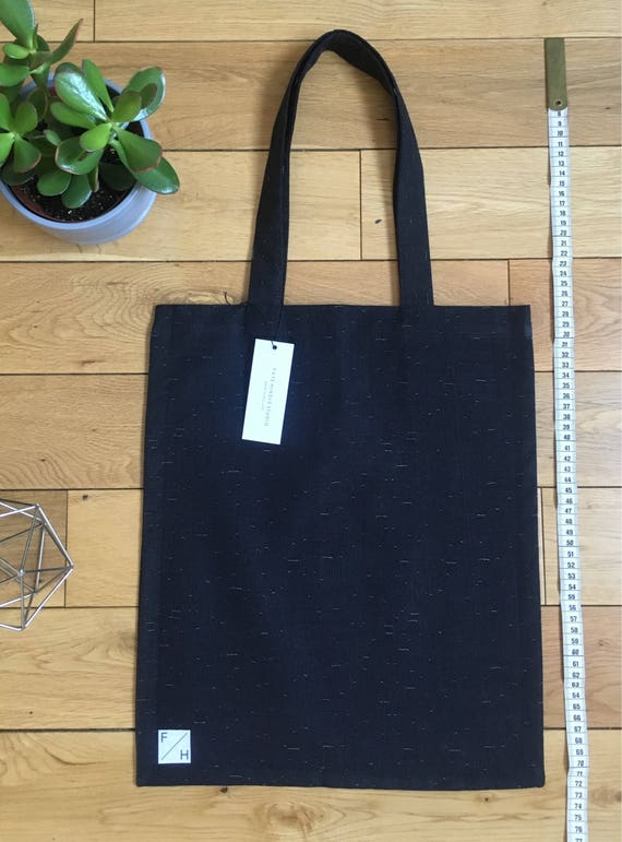 Navy denim tote bag with white cotton detail