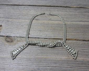 Vintage elegant Kramer NY clear rhinestone necklace, crystal necklace. Jewelry, costume jewelry, fashion, necklace, Kramer, rhinestones