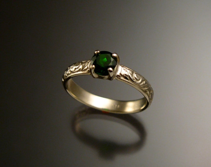 Chrome Diopside Wedding ring 14k White Gold Victorian Wedding ring made to order in your size