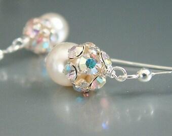 Pearl Earrings, Crystal Earrings, White Swarovski Pearl Earrings, Vintage Crystal Jewelry, Wedding Earrings, Gift For Her, Bridesmaid Gift