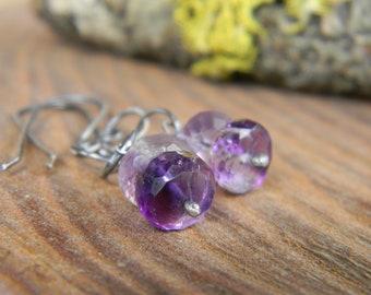 mossy amethyst swinger earrings -  oxidized silver earrings