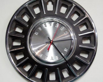 1968 Ford Mustang Hubcap Clock - Muscle Car Wall Clock - Mens Gift