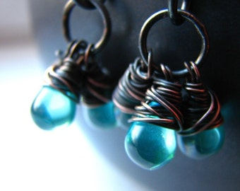 Wire wrapped glass beads and hammered copper earrings - When it rains