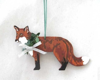 Hand-Painted RED FOX Standing Wood Christmas Ornament Artist Original....Nicely Painted