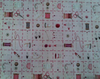 Quilting Bee-Sewing Splash Pink Background