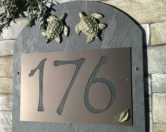 Address Plaque Beach House Numbers Sea Turtles