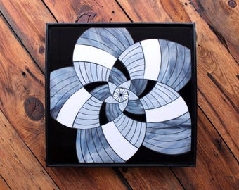 Stained Glass Mosaic - Black and White Petna-Flower - Mandala - Modern - ON SALE!