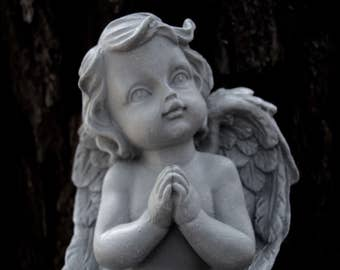 Angel Statue, Praying Angel, Cherub Cast In Stone, Angels, Small Concrete Angel Statues, Garden Decor, Concrete Statues, Cement Cherub,