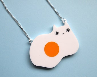 Egg Cat Necklace - Fried egg cat - Laser cut necklace - Acrylic jewellery - acrylic necklace - egg cat - cat necklace - cats - cat gift
