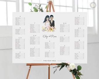 Wedding Seating Chart, Seating Chart Wedding, Wedding Table Plan, Seating Charts, Wedding Sign, Illustrated Seating Chart, Portrait, #IMG